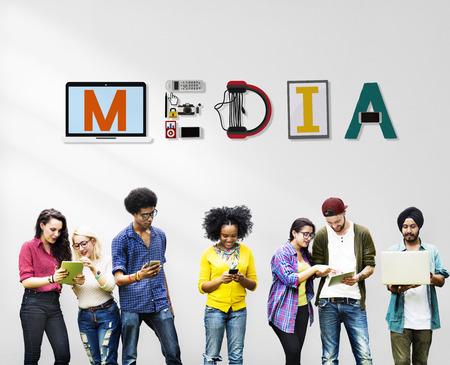 Media Entertainment Broadcast Communication Multimedia Concept Banque d'images