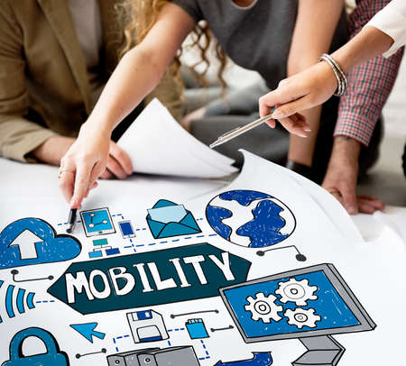 creative finance: Mobility Smart Phone Technology Connection Concept