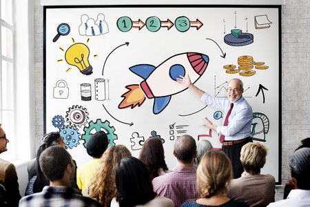 intern: Start Up Business Launch Rocket Graphic Concept Stock Photo