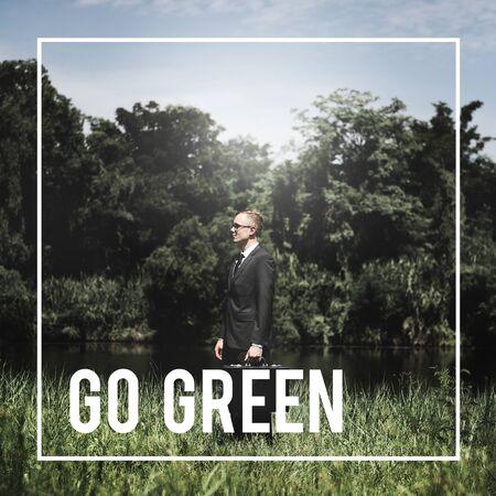 attache case: Green Business Ecology Ecology Go Green Concept