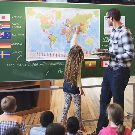 early childhood: Classroom Learning Geographhy Students Study Concept