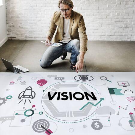 vision futuro: Visión aspiración concepto de la motivación de la inspiración Foto de archivo