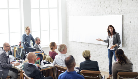 bonhomme blanc: Réunion Les gens d'affaires Conférence Brainstorming Concept