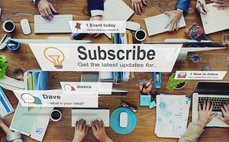 subscribing: Subscribe Follow Subscription Membership Social Media Concept Stock Photo