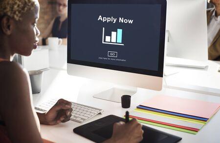 Apply Now Recruitment Hiring Job Employment Concept Stock Photo
