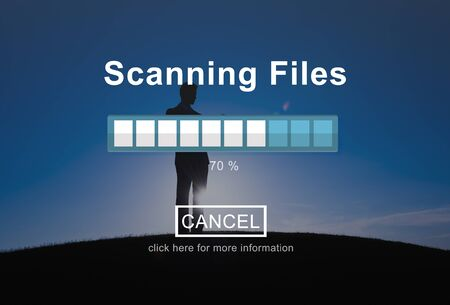 security technology: Scanning Files Security System Data Protection Technology Concept Stock Photo