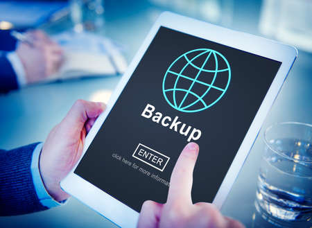 restore: Backup Data Storage Restore Safety Security Concept Stock Photo
