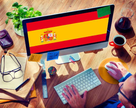 browsing: Browsing Network Internet Spain Flag Concept