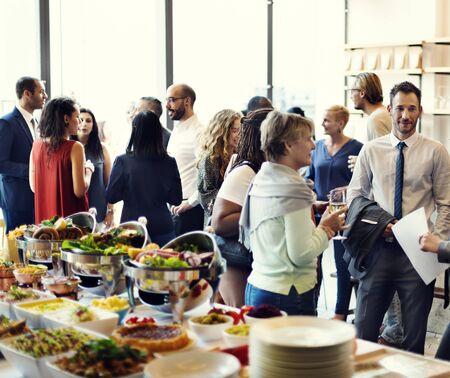 enjoyment: Diversity People Party Enjoyment Buffet Eating Concept