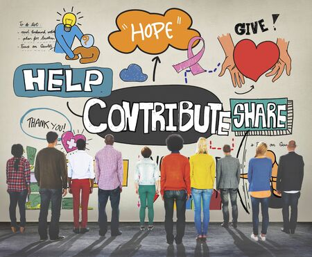 contribution: Contribute Corporate Collaboration Support Contribution Concept Stock Photo