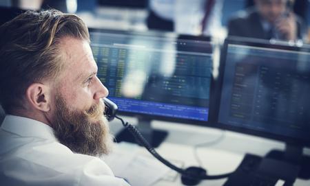 Businessman Working Finance Trading Stock Konzept Lizenzfreie Bilder
