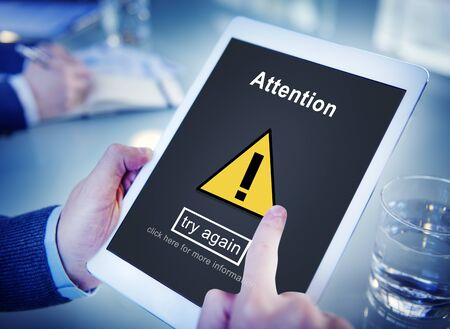 scrutiny: Attention Notice Warning Scrutiny Error Concept Stock Photo