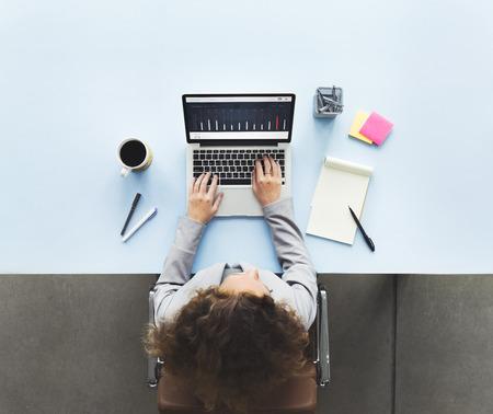 desk work: Computer Laptop Research Working Desk Concept
