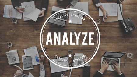 strategize: Analyze Plan Process Strategize Statistics Concept Stock Photo