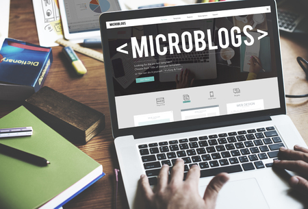 web design template: Microblogs Blogging Social Media Online Concept Stock Photo