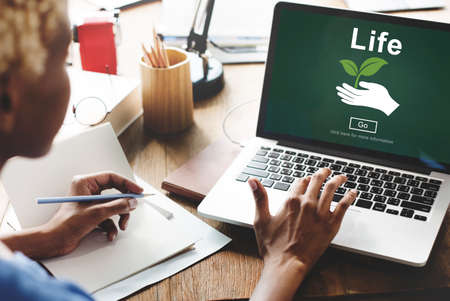 woman using laptop: Life Ecosystem Conserve Environment Concept
