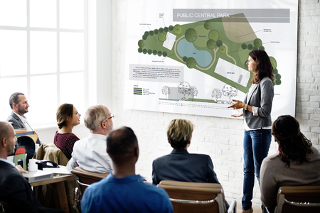 central park: Public Park Layout Map Information Concept Stock Photo