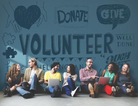 ボランティアの慈善援助の手を与える概念