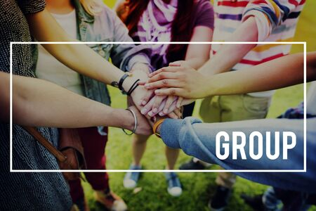 cooperativismo: Grupo Concepto de la cuadrilla de la empresa Cooperativa Comunidad Foto de archivo