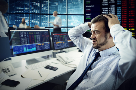 failed strategy: Businessman Stress Failed Unsuccessful Stock Concept