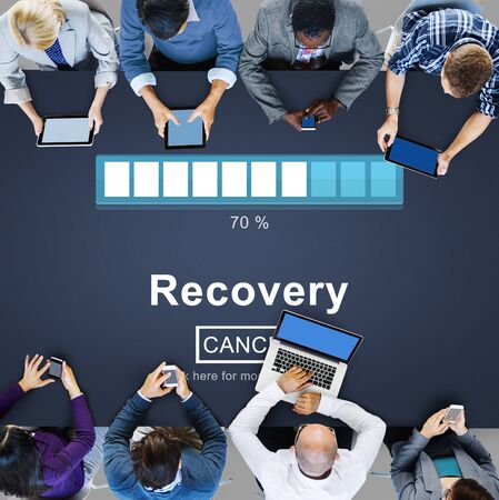 career timing: Recovery Backup Restoration Data Storage Security Concept Stock Photo