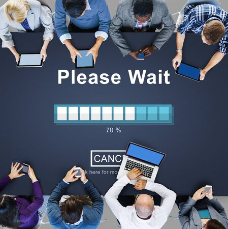 the anticipation: Please Wait Loading Waitng Trasfer Anticipation Concept Stock Photo