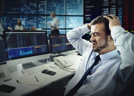 failed strategy: Businessman Stress Failed Unsuccessful Stock Concept