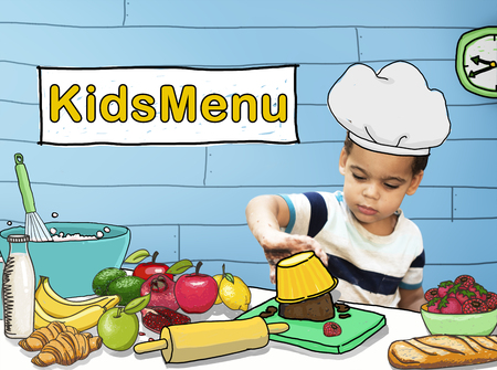 kneading: Kids Menu Cooking Child Culinary Food Concept Stock Photo