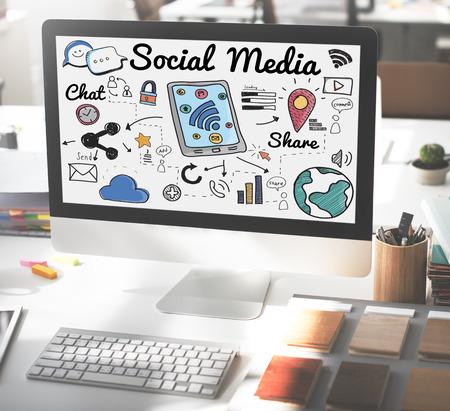 medios de comunicación social: Social Media en vivo Compartir Comunicación Global Concept Foto de archivo