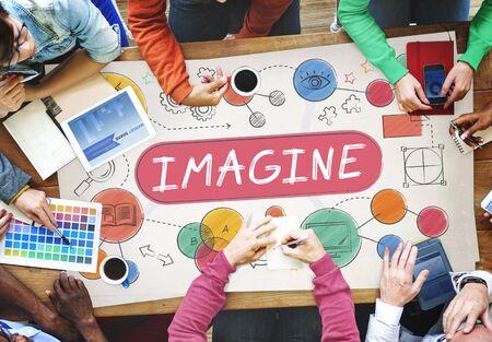 to imagine: Imagine Imagination Expect Creative Icons Concept Stock Photo