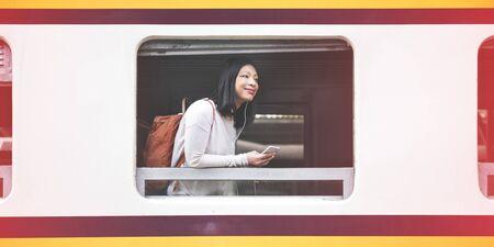 commute: Asian Lady Traveling Commute Train Concept