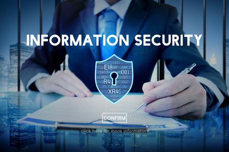 seguridad en el trabajo: La información sobre protección de seguridad y privacidad concepto de interfaz Foto de archivo