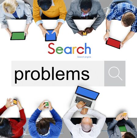 drawback: Problems Problem Solving Recession Solution Issue Concept Stock Photo