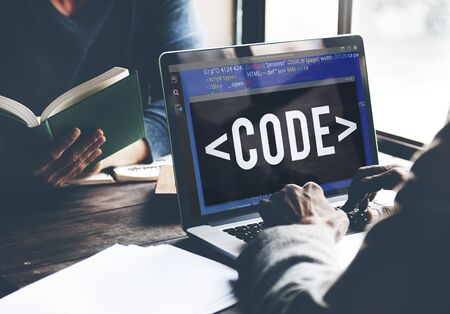 developing: Code Programming Technology Language Developing Concept Stock Photo