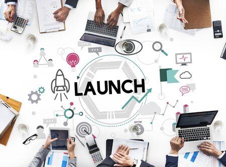 empezar: Launch Begin Introduce Kick Off New Business Concept Foto de archivo