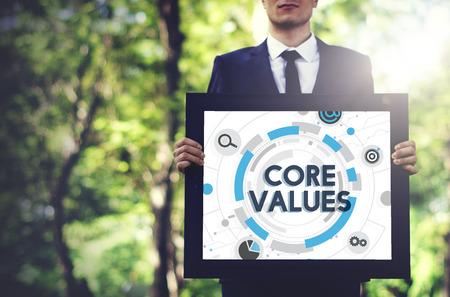 core strategy: Core Values Principles Ideology Moral Purpose Concept Stock Photo