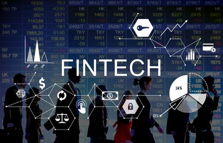 Concepto de la tecnología de Internet Fintech Inversión Financiera