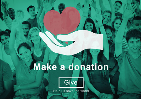 contribute: Make a Donation Charity Donate Contribute Give Concept