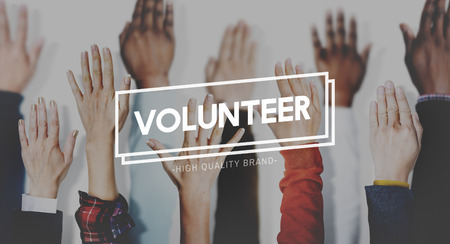 Volunteer concept with raising hands background