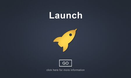 commence: Launch Start Brand Introduce Rocket Ship Concept Stock Photo