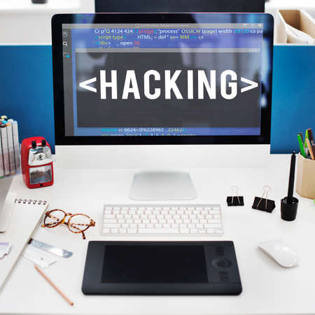 html: Hacking Software HTML Cyberspace Coding Concept Stock Photo