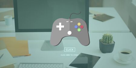 gaming: Gaming Play Controller Media Concept Stock Photo