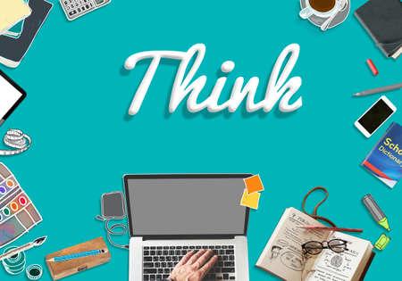 determination: Think Thinking Idea Determination Planning Mind Concept