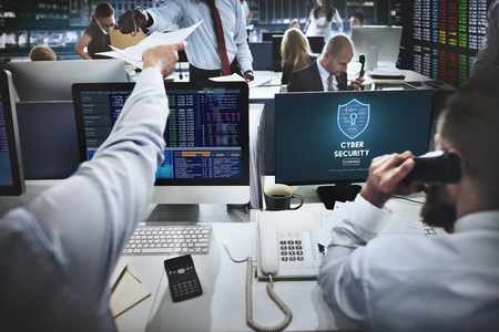 stockmarket: Cyber Security Protection Firewall Interface Concept Stock Photo