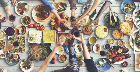 international food: Friends Happiness Enjoying Dinning Eating Concept