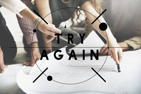 retry: Try Again Encouragement Motivate Retry Creative Concept Stock Photo