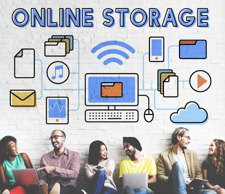 asian friends: Online Online Storage Network Sharing Concept Stock Photo