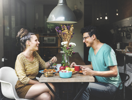 woman eating fruit: Couple Eating Food Meal Dating Romance Love Concept