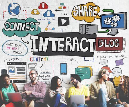 interactivity: Interact Interactive Connection Interface Multimedia Concept
