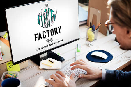 built: Factory Built Scructure Organization Industrial Concept Stock Photo